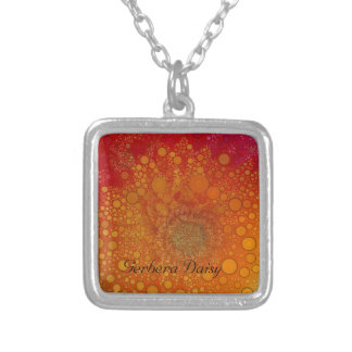 Red Orange Gerbera Daisy Pop Art Silver Plated Necklace