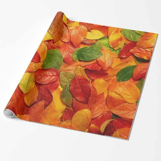 Red Orange Gold & Green Fall Oval Leaves