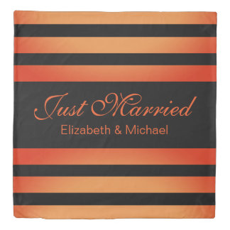 Red Orange Gradient and Black Stripes Wedding Duvet Cover