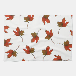 Red, Orange Maple Leaves, Nature Art, Autumn Kitchen Towel