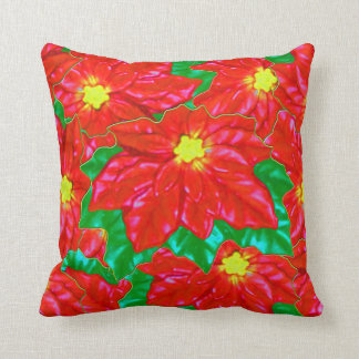 Red Orange Poinsettias Throw Pillow