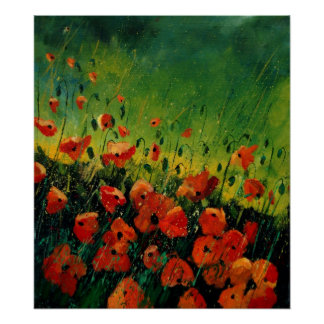 red orange poppies 67 poster