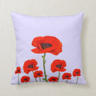 RED-ORANGE POPPIES FLORAL DESIGN ON WHITE THROW PILLOW
