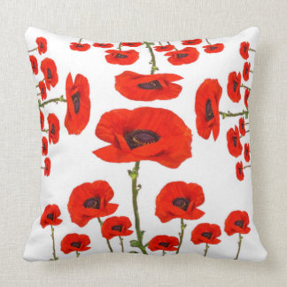 RED-ORANGE POPPIES FLORAL GARDEN DESIGN THROW PILLOW