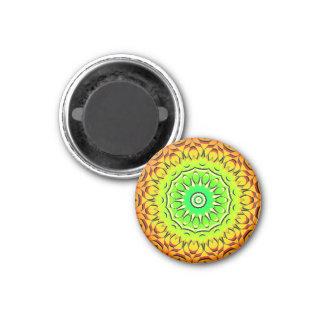 Red Orange Power Mandala 1 Inch Round Magnet