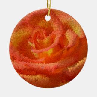 red-orange rose, close-up, photo extrudes, round ceramic ornament