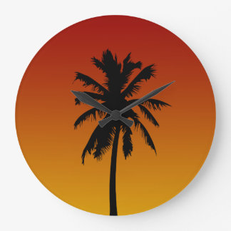 Red Orange Sunset Palm Tree Tropical Clock