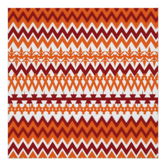 Red Orange Tribal Pattern Aztec Chevron Zigzags Poster