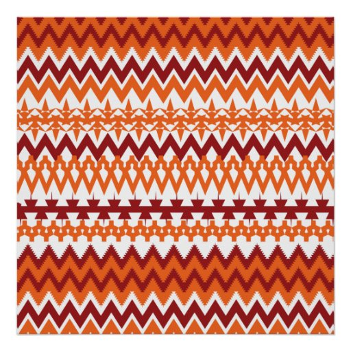 Red Orange Tribal Pattern Aztec Chevron Zigzags Poster