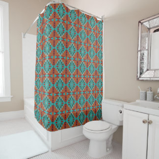 Red Orange Turquoise Teal Eclectic Ethnic Art
