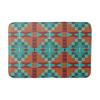 Red Orange Turquoise Teal Eclectic Ethnic Look Bathroom Mat