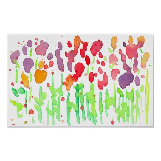 Red Orange Watercolor Wildflowers Poster