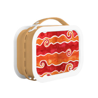 Red Orange Waves Lunch Box