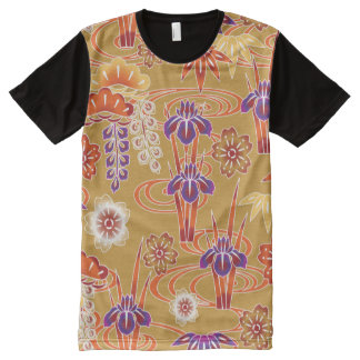 Red Orange White Fine Japanese Floral Pattern All-Over-Print T-Shirt