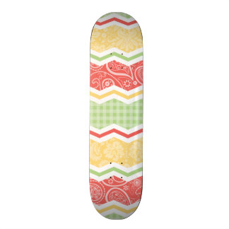 Red-Orange Yellow and Green Country Patterns Skate Decks