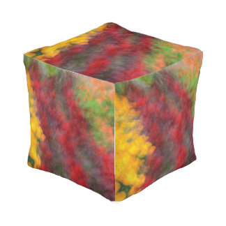 Red Orange Yellow Green Abstract Flowers Photo Art Pouf