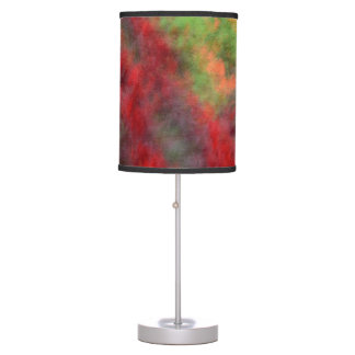 Red Orange Yellow Green Abstract Flowers Photo Art Table Lamp
