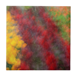 Red Orange Yellow Green Abstract Flowers Photo Art Tile