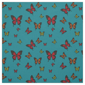 Red/orange/yellow, Swallow tail Butterflies Fabric