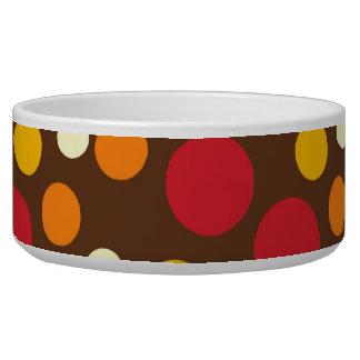 Red Orange Yellow White Brown Polka Dots Pattern Pet Bowls