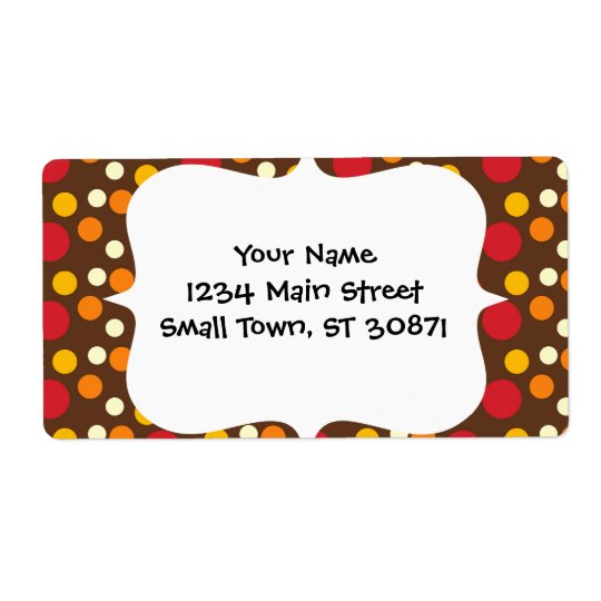 Red Orange Yellow White Brown Polka Dots Pattern Shipping Label