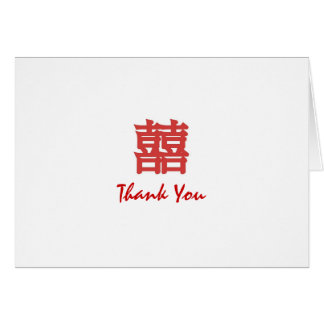Red Oriental Double Happiness Thank-You Card