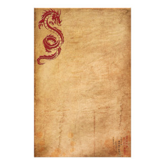 Red Oriental Dragon II Stationery