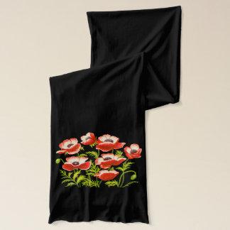 Red Oriental Poppy Flowers Scarf