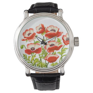 Red Oriental Poppy Flowers Watch