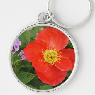 Red Oriental Poppy Silver-Colored Round Keychain