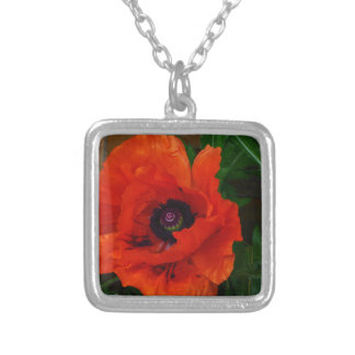 Red Oriental Poppy Silver Plated Necklace