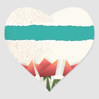 Red Origami Flowers Heart Sticker