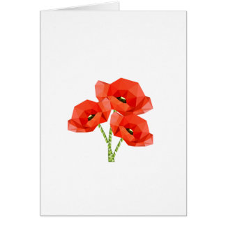 Red Origami Poppies Card