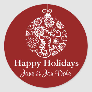 Red Ornament Christmas Holidays Gift Sticker