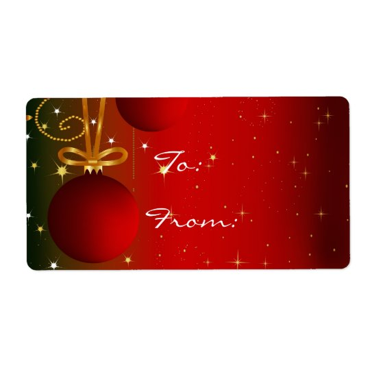Red ornament Christmas tag labels