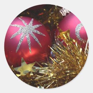 Red Ornament Classic Round Sticker