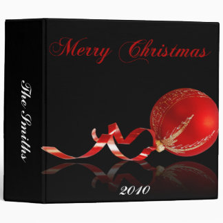 Red Ornament Merry Christmas on Black Binder