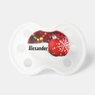 Red Ornament Snow Personalized Christmas Pacifier