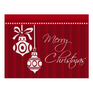 Red Ornaments Merry Christmas Postcards