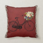 red outdoor or indoor bicycle bike flowers throw pillow