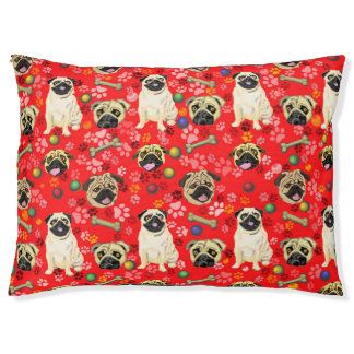 Red Outdoor Pug Print Dog Bed