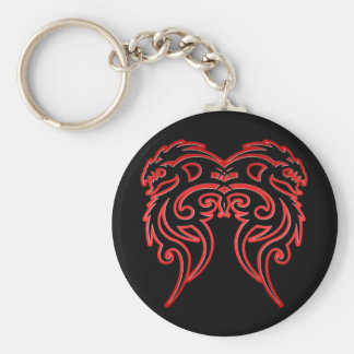 Red Outline Double Dragon Key Chains