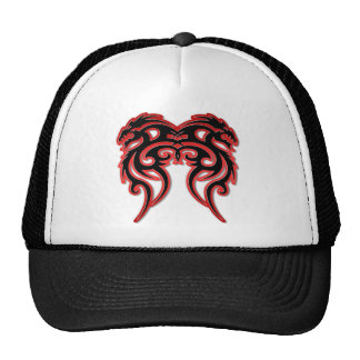 Red Outline Double Dragon Mesh Hat