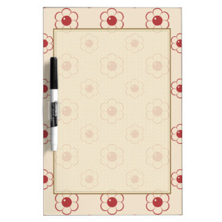 Red Outlined Cartoon Flower Pattern Dry Erase Whiteboard
