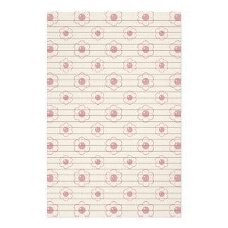 Red Outlined Cartoon Flower Pattern Stationery