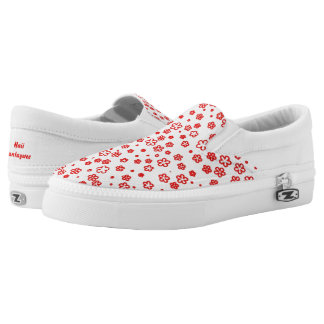 Red Outlined Flowers Slip-On Sneakers