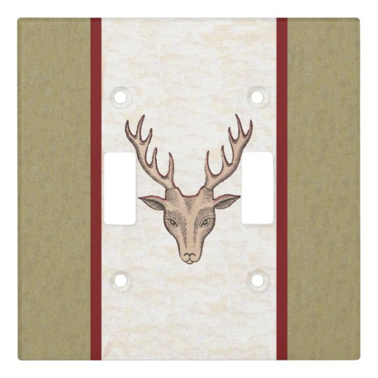 Red Outlined Male Deer Head black Etchings Stripes Light Switch Cover