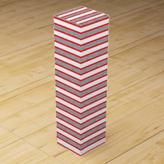 Red Outlined Static Silver Stripes Wine Gift Box