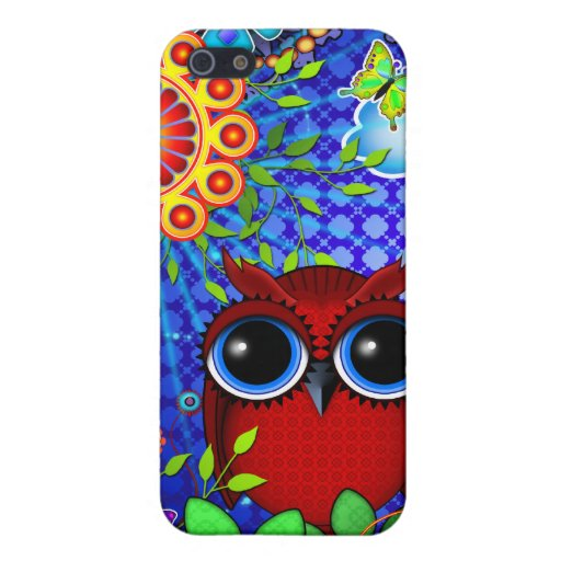 Red Owl and Flowers Art iPhone case iPhone 5 Case