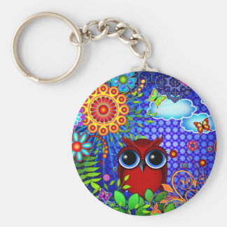 Red Owl and Flowers Bird Art Keychain